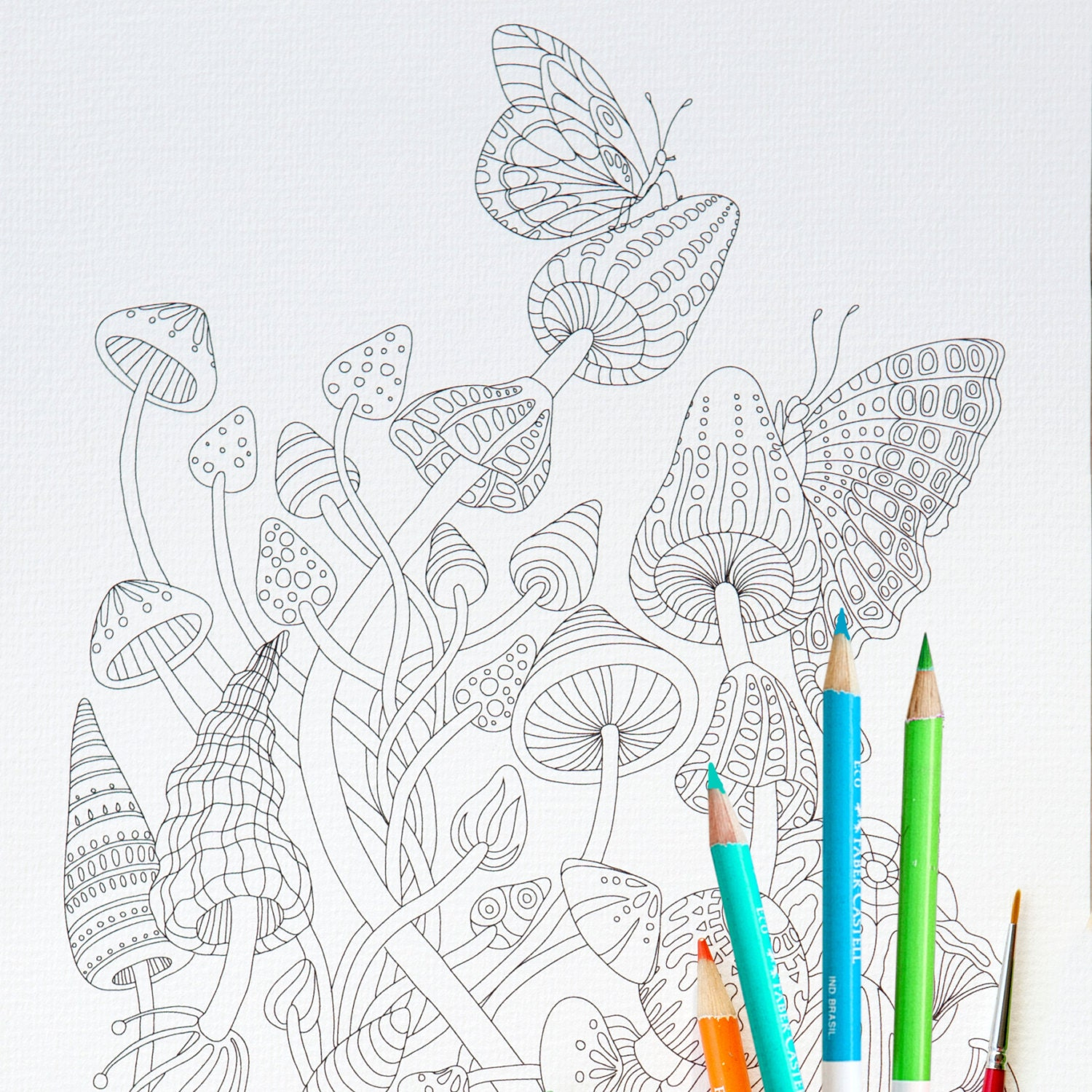 coloring page instant download magic mushrooms