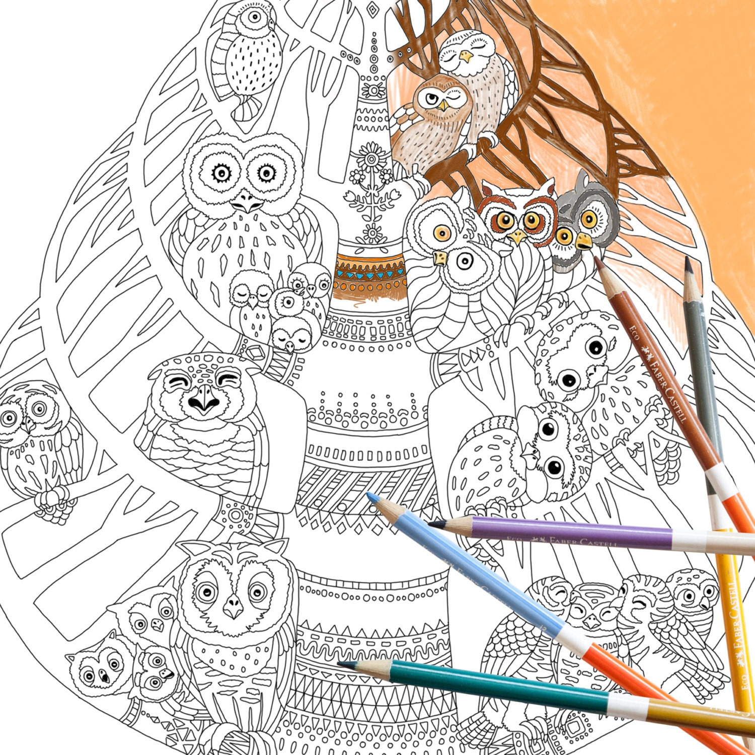 Coloring Page INSTANT DOWNLOAD Owl Tree Adult
