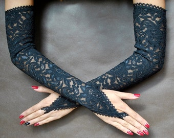 Elegant GOTHIC VAMPIRE Victorian Burlesque Evening Glamour extra long GLOVES, armwarmers, black lace, goth fingerless mittens