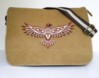 Canvas messenger bag, despatch bag, work bag, college bag, school bag, celtic hawk bag, zippered bag, shoulder bag, diaper bag, nappy bag.
