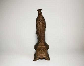 Antique Virgin Mary Statue, French religious sculpture, crowned Holy Mary, Antique French statue, christian catholic