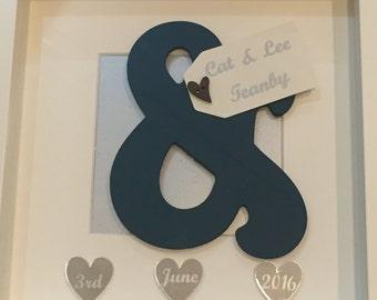 Wedding Gift Frame, Personalised Frame, Ampersand Detail Frame, Keepsake Frame, Anniversary Frame, Engagement Frame