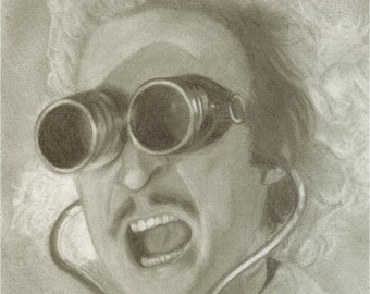 "Young Frankenstein Art Print ""Dr Fronkensteen"" Gene Wilder by Colin Richards (8x10 inch Digital Print on 8.5x11 cardstock, unframed) Sci Fi"