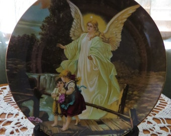 Lefton China, Guardian Angel Plate, 1993, Angel Plate, Collectors Plate, Fine China, Home Decor, Home Decoration, Religious, Christian