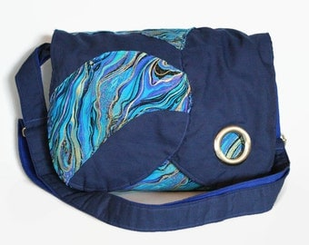 Blue messenger bag  Boho crossbody blue bag