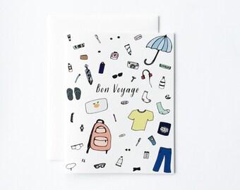 Bon Voyage Card, Travel Card, Adventure Card, Card for Honeymoon, Card for Travel