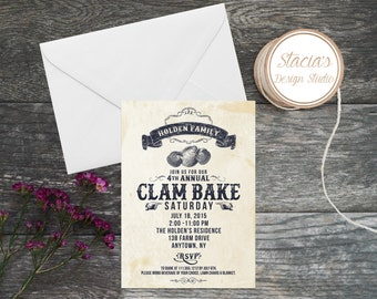 Clam Bake Summer Party - Clambake Invitation - BBQ - Boater's Bash Printed Invitations