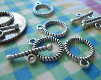 20 Sets Tiny Striped Antique Silver Toggle Clasps. 13mm Hoop.  18mm TBars. Perfect Braclet Toggle.  ~USPS Ship Rates -from Oregon