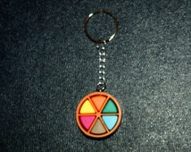 Orange Trivial Pursuit Pie Key Ring