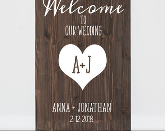 Custom Wood Wedding Welcome Sign, Custom Wedding Welcome Sign, Woodland Wedding Sign, Personalized Wedding Welcome Sign, Wood Wedding Sign