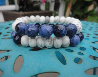 Sodalite and Howlite/Boho Stacking Bracelet/Navy/White/Color Block Bracelet