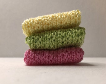 Miniature Faux Shelf Blankets - Shabby Chic Hand Knitted  - Stack of 3 - Yellow, Wasabi, Dark Pink