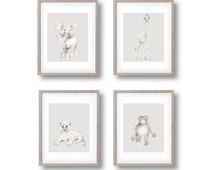 Safari Animal Nursery Art, Grey Nursery Decor, Jungle Nursery Prints, Lion, Elephant, Giraffe, Monkey, Chimp, Childrens Art, Pencil Drawing