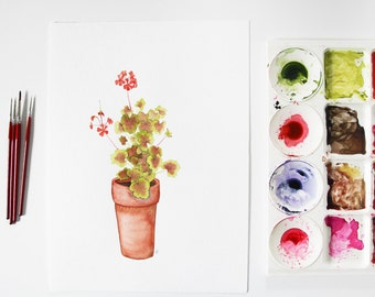 Geranium Plant Original Watercolor Plant in a Clay Pot Painting