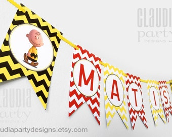 Snoopy Birthday Banner - Peanuts Snoopy Party Banner - Peanuts Birthday - Snoopy Party - charlie brown birthday - Boy or Girl