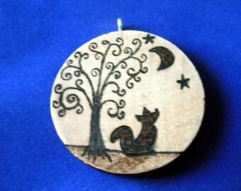 Fox moon pendant (wood burned pyrography art)