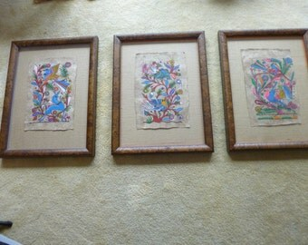 A Trio of framed bark paintings from Mexico