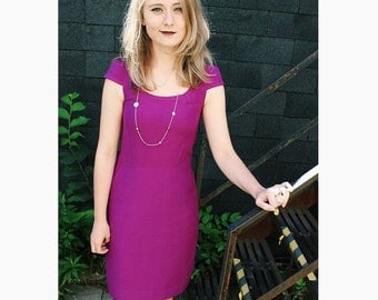 Magenta Quality Stylish Form Fitting Formal Dress, cap sleeves, dress with pockets, knee length dress