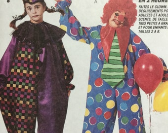 Vintage 1993 McCall's Costumes 6719 2 Hour Clown, Jester, Harlequin Sewing Pattern
