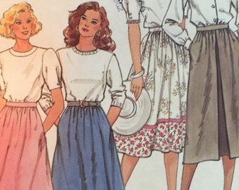 Vintage 1980's Simplicity 9593 Misses 14-20 Skirt Sewing Pattern in two Lengths