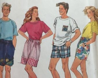 1990s, Simplicity 7724, Woman,Men,Girl, Boy, Shorts, Top, Sewing Pattern, Pull on Shorts, Short Sleeve Top, Pocket Shorts, Knit Top, Summer