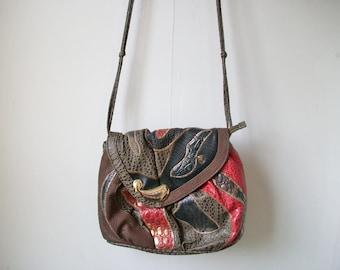 Alentino Patchwork Purse, Vintage Animal Print Paisley Patchwork Shoulder Bag w/ Knotted Strap, Crossbody Bag