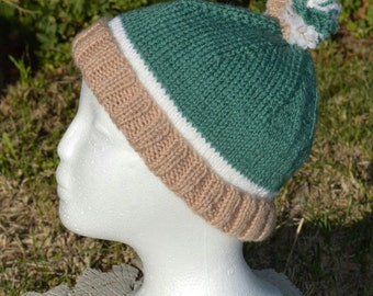 Green white and brown knitted adult beanie with pom pom