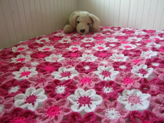 Crochet Flower Blanket : Flower Baby Blanket, Floral Baby Blanket, Flower Blanket, Crochet Baby ...