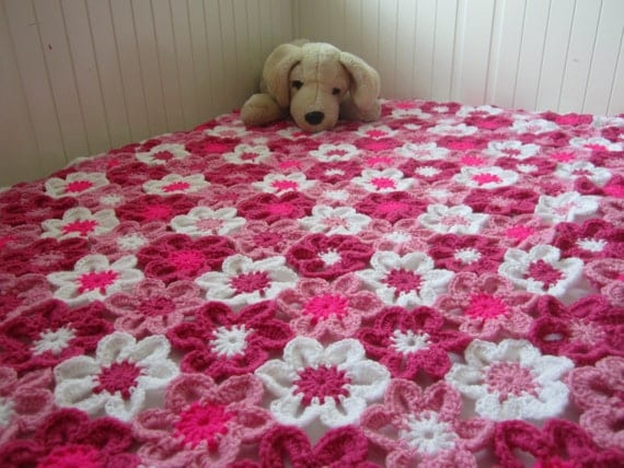 Flower Baby Blanket, Floral Baby Blanket, Flower Blanket, Crochet Baby ...