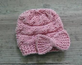 Baby Hat, Baby Girl  pink Hat Newborn Hat Photo Prop Baby Knit Hat Girl Knit Hat Infant Hat Newborn Baby Girl Hat, Baby Girl Newborn Hat,