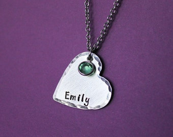 Personalized Heart Necklace with Birthstone - Stamped Heart Necklace - Name Necklace - Engraved - Daughter Gift - Teen Girl - Tween Girl