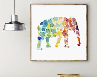 Elephant Watercolor Painting - Giclee Print - Rainbow colours - Nursery decor - Fantasy Animal Painting - Elephant Art - Nursery Animal