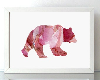 Bear Watercolor illustration - Fine Art Print - Home decor Wall decor - Animal Painting - Red pink - Bear Art A4 or 8 x 10 - Nursery Art