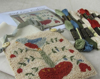 Primitive Punch Needle Kit or Paper Pattern ~ Fraktur Folk Art - Punchneedle Pattern - Needle Punch - Bird and Flowers - Hanging
