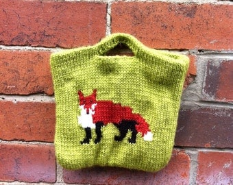 Spring Fox, Knitted and fabric lined fox handbag, Handknitted bag.