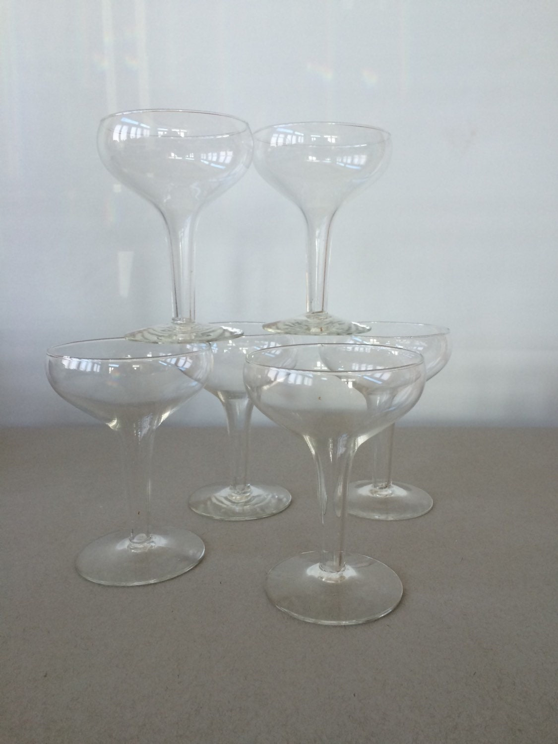 Vintage hollow stem champagne coupes champagne glasses set - Hollow stem champagne glasses ...