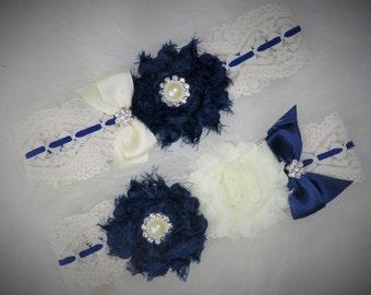 Navy Blue Lace Garter Set, Wedding Garter, Bridal Garter, Navy Blue Garter, Customize Garter, Vintage Garter, lace Garter, Stretch Lace