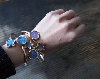 Sun Star Dual Bracelet, Agate Druzy Bracelet, Druzy Gold Bracelet, Druzy Cuff, Drusy, Statement Bracelet, Gemstone Bracelet, Druzy Jewelry