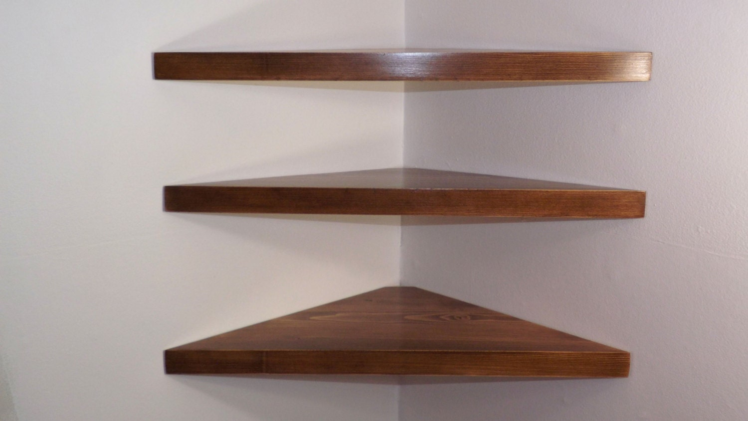 Set of 3 24 Inch Floating Corner Shelves with Custom Walnut Stain Handmade  in the USA