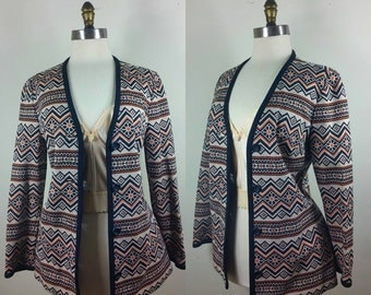 70s Tribal Print Cardigan Button-up Sweater M/L