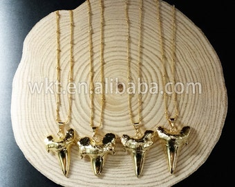 WT-N486 Wholesale Full gold electroplated lovely shark teeth necklace, Fashion tiny ball bead chain shark tooth necklace