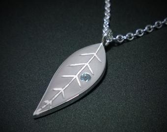 Blue Topaz Leaf Necklace Pendant in Sterling Silver