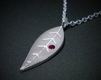 Garnet Leaf Necklace Pendant in Sterling Silver