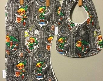 Zelda Baby Bib, Burp Cloth Gift Set