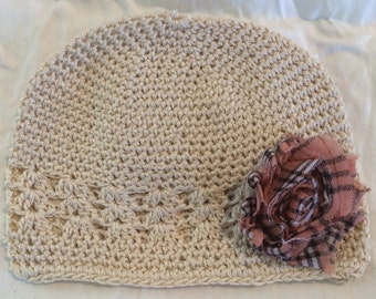 Off-White/ Ivory/ Cream Crochet Beanie Hat, Kufi Hat with Shabby Chic Pink, Black and White Plaid Flower
