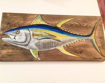 ON SALE!!!!  Yellowfin tuna on wood