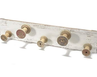 Wooden Spools Hanger Antiqued White