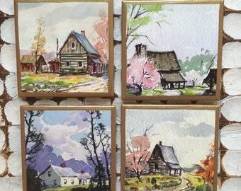 COASTERS!!! Set of vintage farmhouse coasters with gold trim