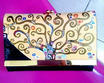 Hand painted leather wallet, Gustav Klimt, the tree of life