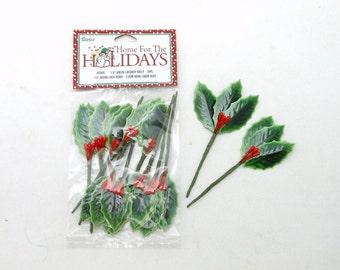 Green Holly Leaves with Red Berries - Lacquered - 1.5 inches - 10 pieces